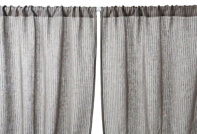 "Set of 2 Blue Stripe 96"" Curtains, Gray"