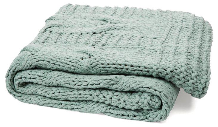 Michaela Cable-Knit Cotton Throw, Aqua