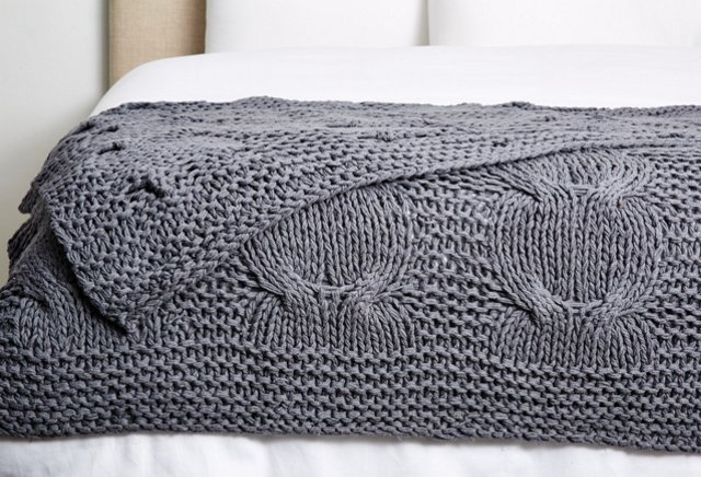 Michaela Cable-Knit Cotton Throw, Steel