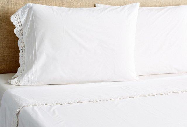 Hand-Crocheted Sheet Set, White