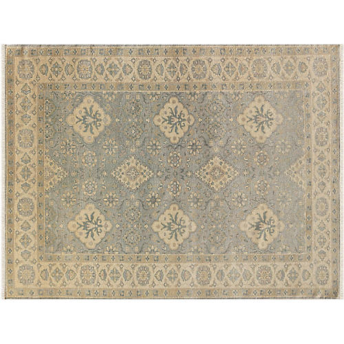 Vogel Hand-Knotted Rug, Water Blue