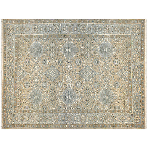 Husher Hand-Knotted Rug, Mint/Multi
