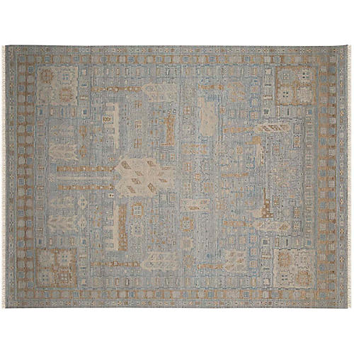Norcross Hand-Knotted Rug, Blue/Beige