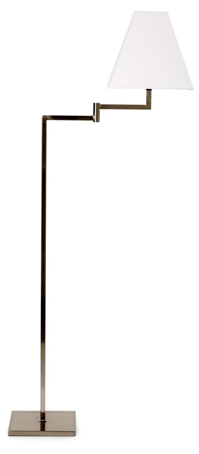 Cavan Floor Lamp, Satin Nickel