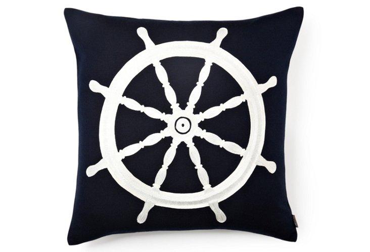 Harbor Sailboat 21x21 Pillow, Navy