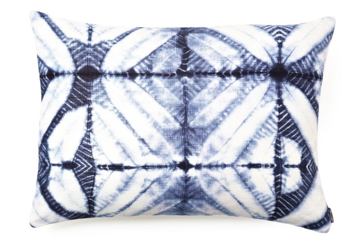 Mustique Zigzag 16x22 Pillow, Indigo