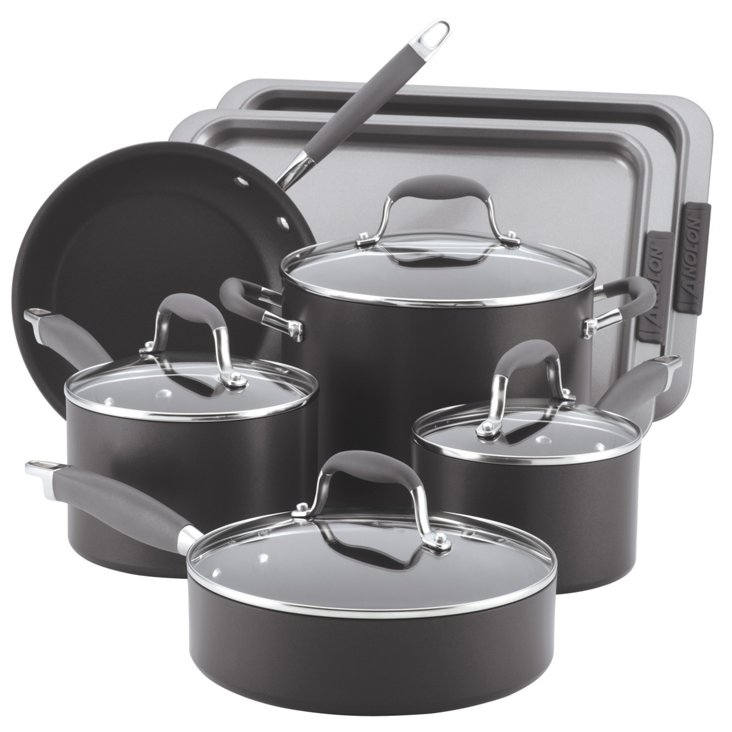 9-Pc Cookware Set, Black