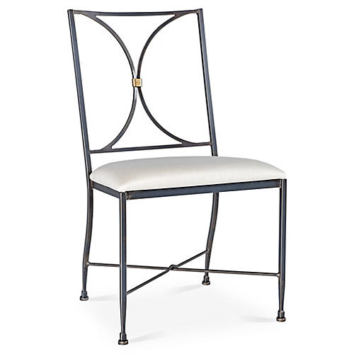 Stahl Side Chair, Iron/Ivory Sunbrella
