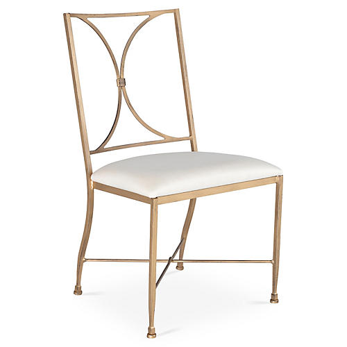Stahl Side Chair, Gold/Ivory Sunbrella
