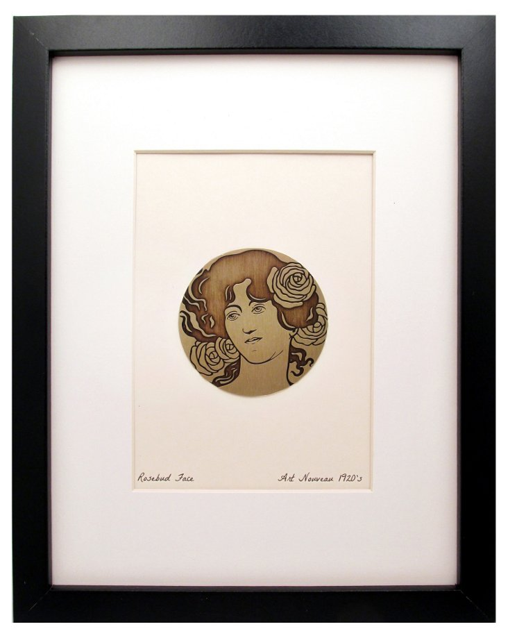 Rose Bud Face Etched Brass Print