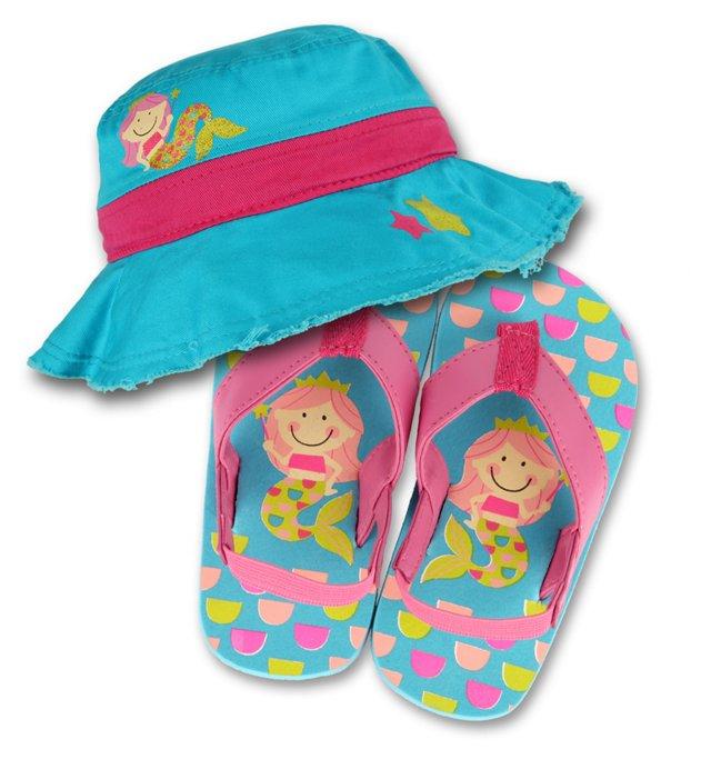 Kids' Mermaid Hat/Flip Flop Set, Aqua
