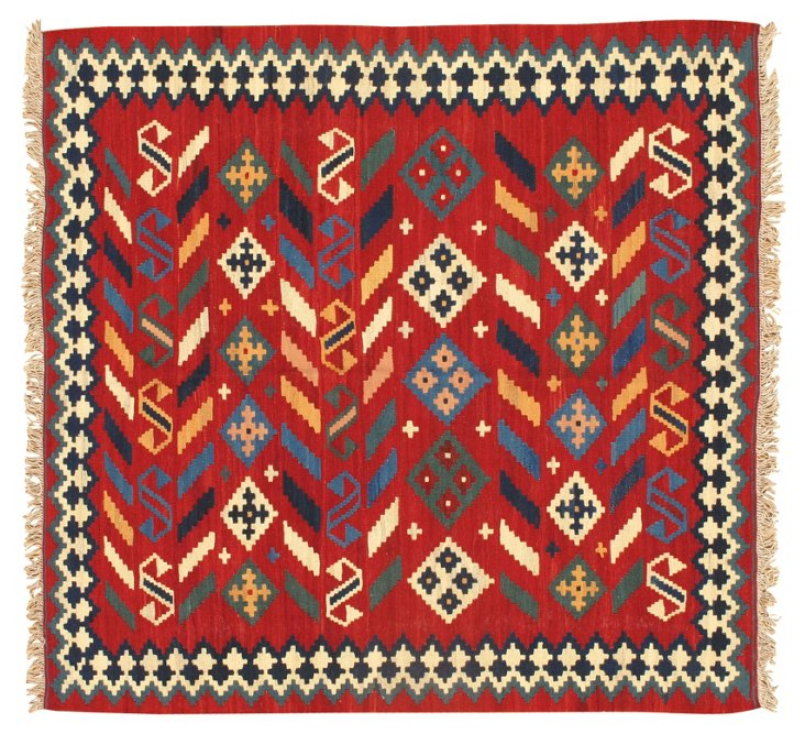 "5'3""x5' Kilim Rug, Red/Blue/Multi"