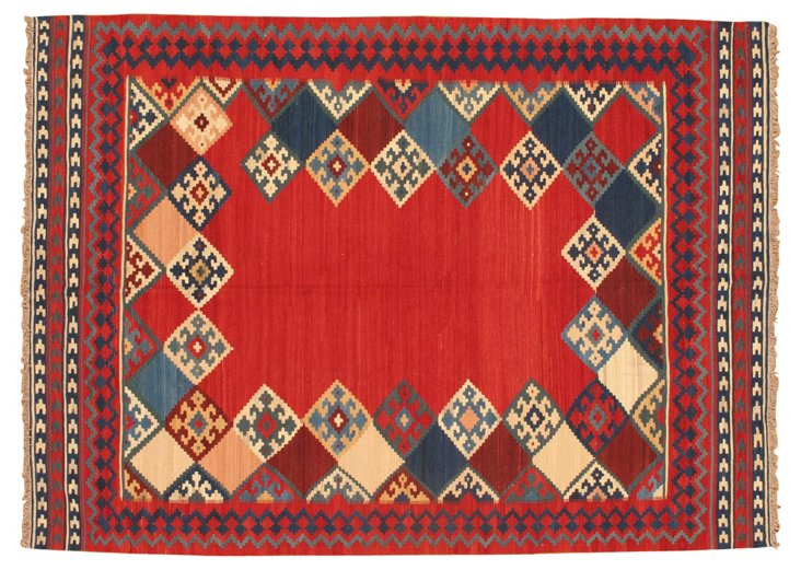"9'10""x7'5"" Kilim Rug, Red/Blue/Multi"