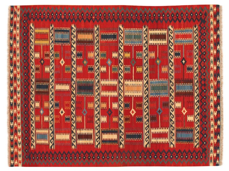 5'10''x7'8'' Kashan Kilim Rug, Red/Multi
