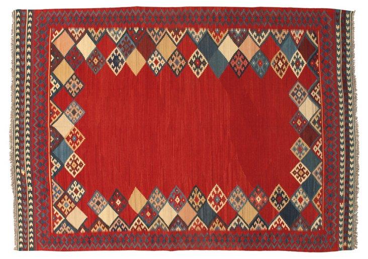 7'7''x10'5'' Minab Kilim Rug, Red/Multi