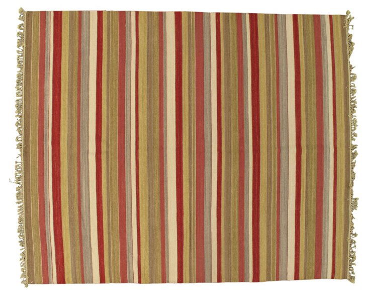 8'1''x9'10'' Deori Kilim Rug, Red/Multi