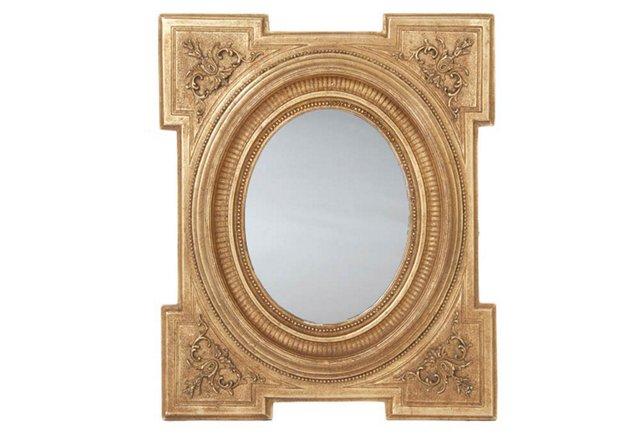 Federal Key Corner Mirror, Gold