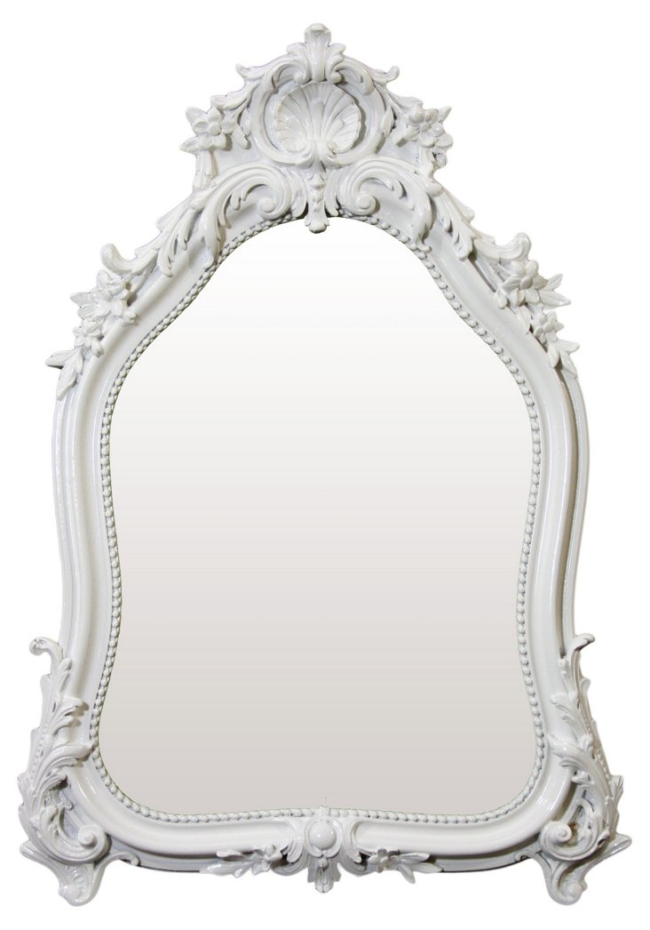 Shell Crown Mirror, White