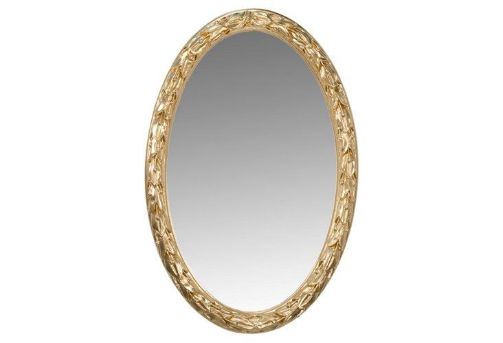Laurel Leaf Oval Mirror, Gold