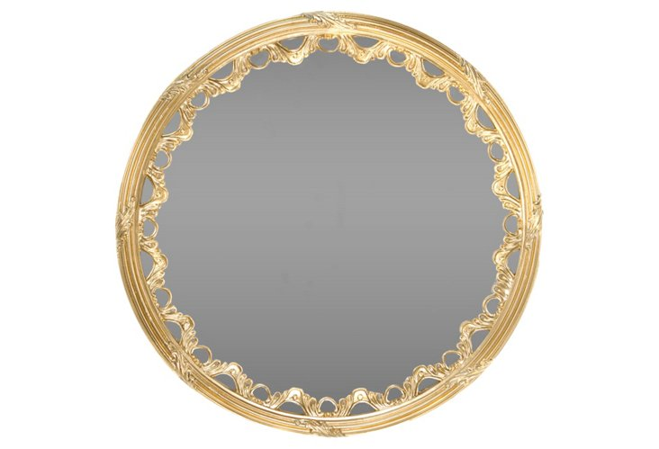 Scalloped Round Mirror, Gold