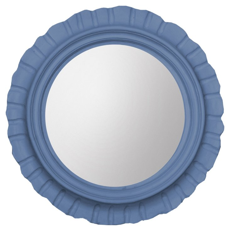 Morning Glory Round Mirror, Periwinkle