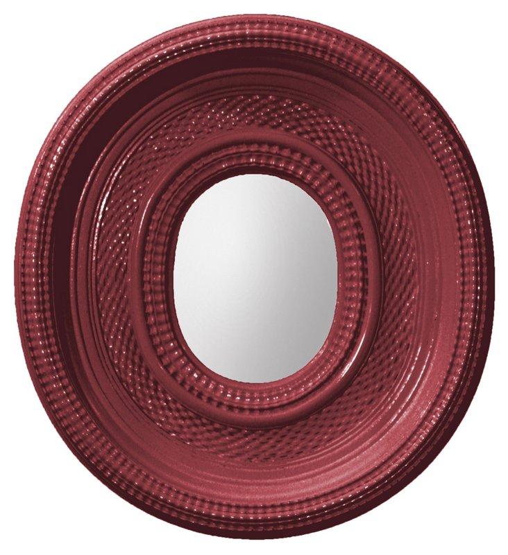 Dutch Oval Ripple Mirror, Poinsettia