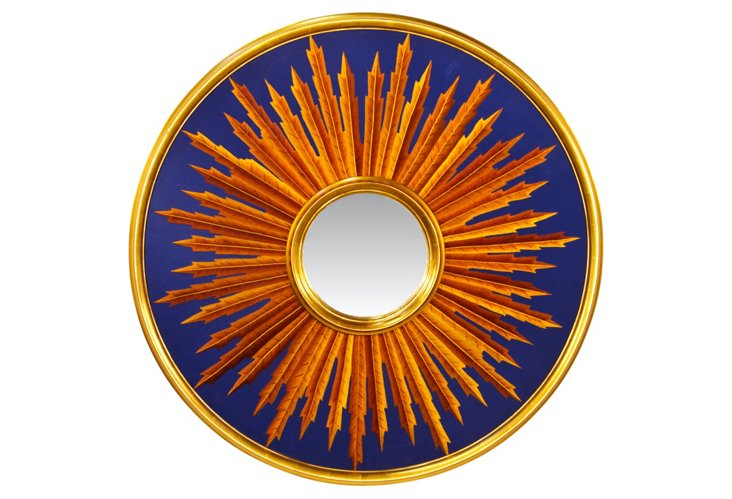 Sunburst Mirror, Blue/Gold