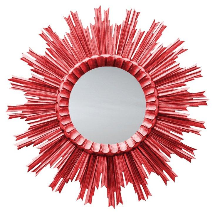 Kendra Sunburst Mirror, Red