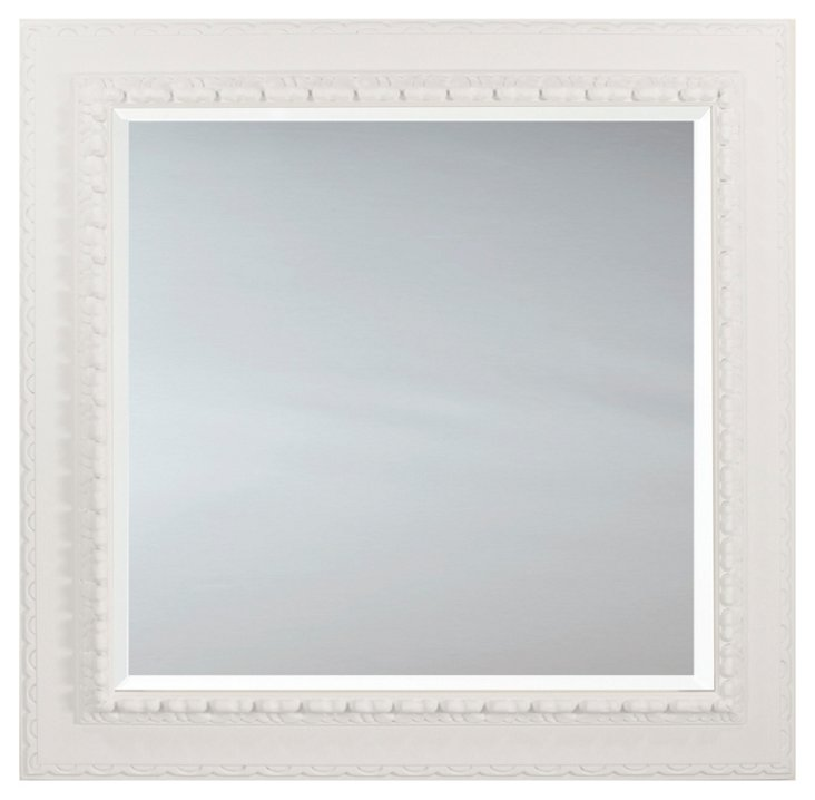 Square Spanish Carved Mirror, White