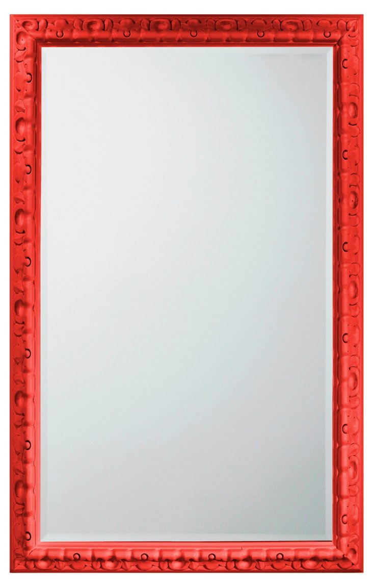 Spanish Carved Mirror, Red
