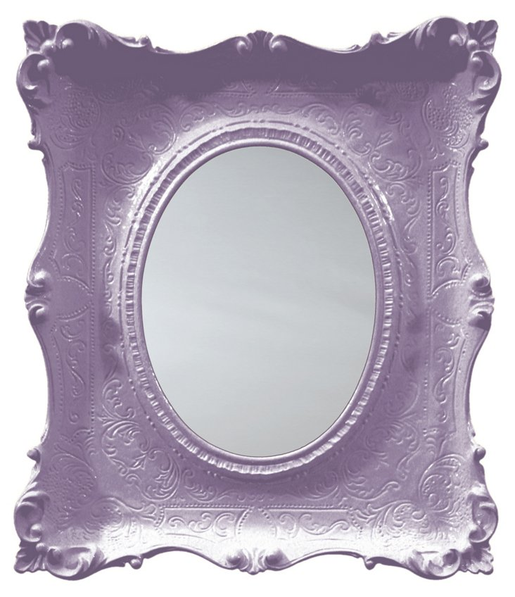 Louis XV Oval Mirror, Lilac