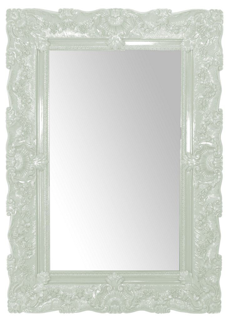 French Rococo Mirror, Light Green