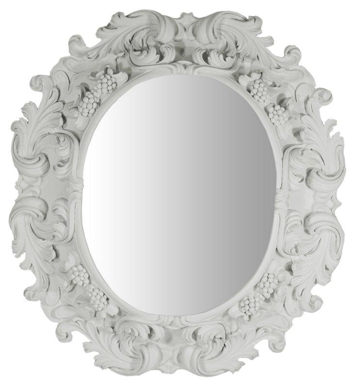 Lorraine Oval Mirror, Gray