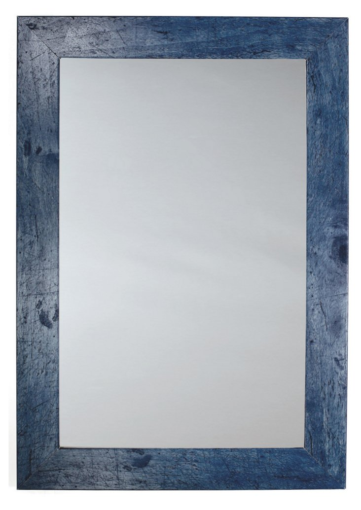 Rustic Pine Mirror, Blue
