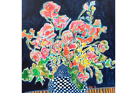 Kate Lewis, Flowers in Checkered Vase