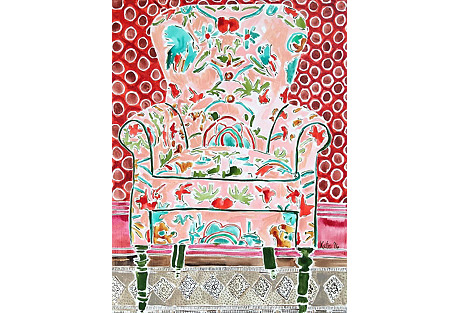 Kate Lewis, Chair with Red Wallpaper