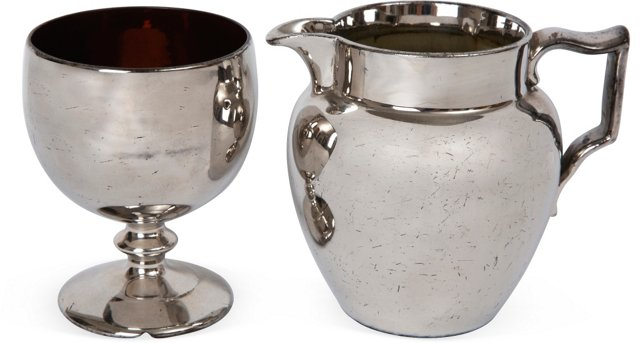 Silver Lustre Wineglass & Pitcher