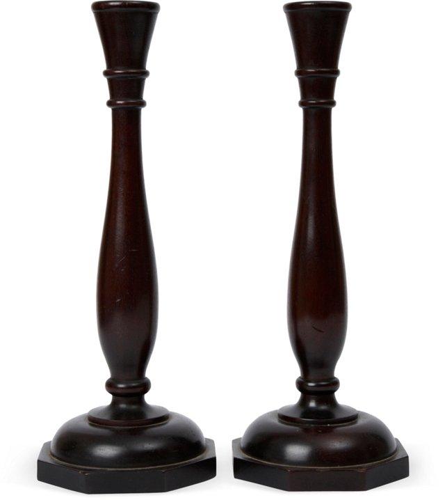 Ebonized Edwardian Candlesticks, Pair