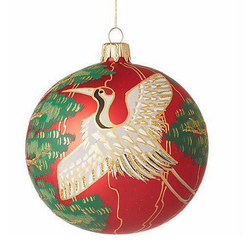 Crane Ornament, Red/Multi