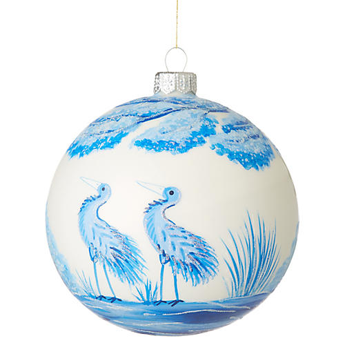 Crane Ornament, Blue/White