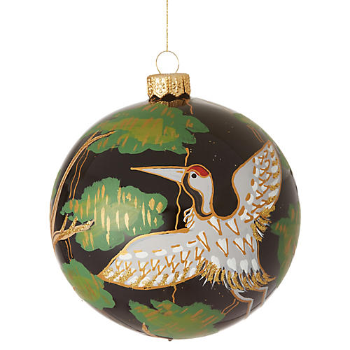 Crane Ornament, Black/Multi
