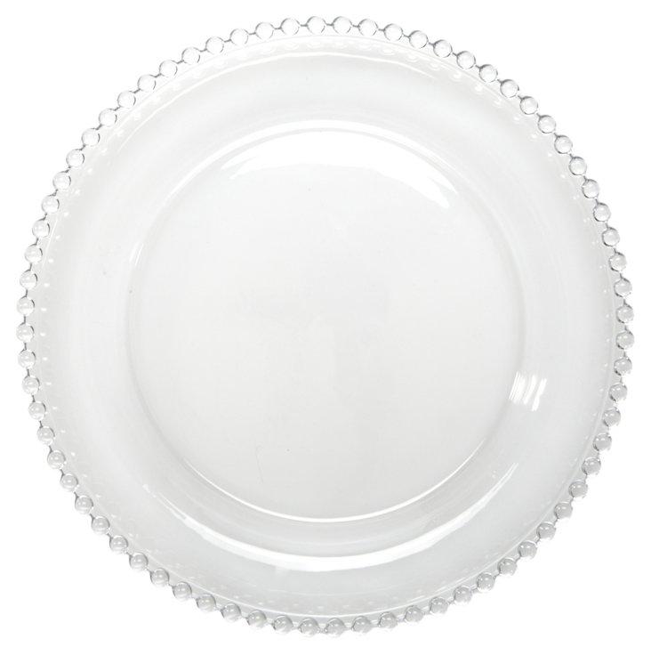 S/6 Glass Pearled-Rim Dessert Plates