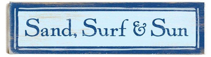Sand, Surf & Sun Wood Sign