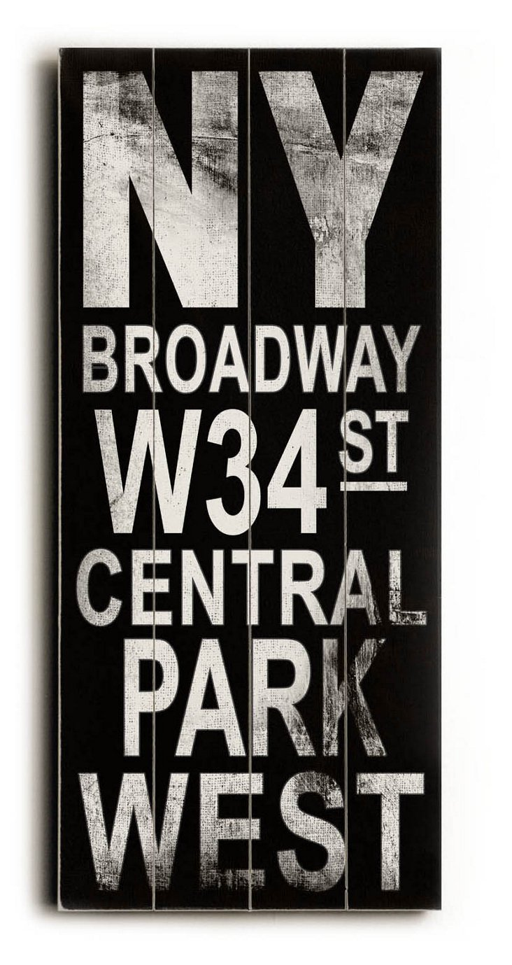 """NY Broadway"" Wall Sign, Black"