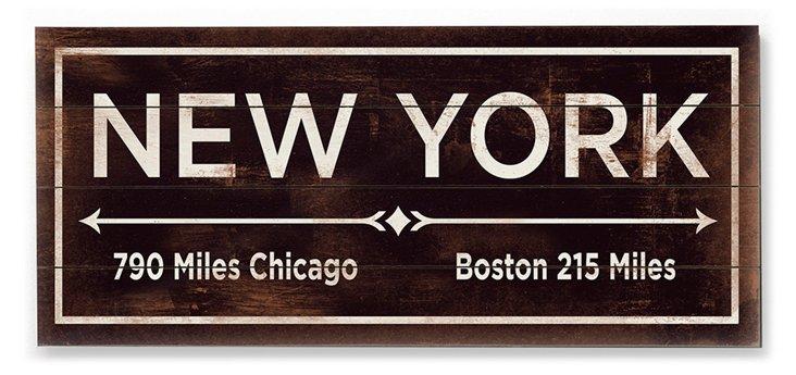 """""""New York"""" Wall Sign, Natural"""