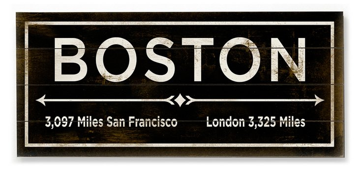 """Boston"" Wall Sign, Natural"