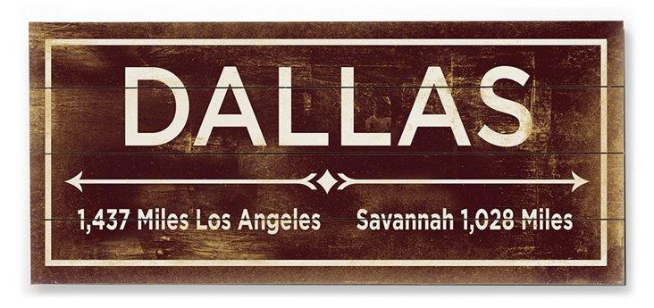 """""""Dallas"""" Wall Sign, Natural"""