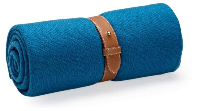 Cashmere Travel Throw w/ Strap, Blue