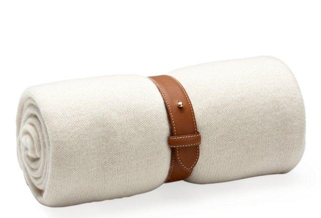 Cashmere Travel Throw w/ Strap, Ivory