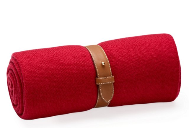 Cashmere Travel Throw w/ Strap, Red